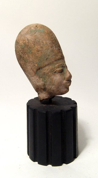 Egyptian terracotta head of a god or pharaoh