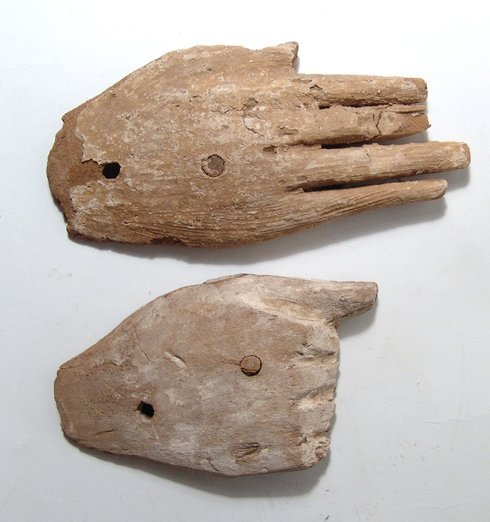 Pair of wooden hands, each from anthropoid coffin