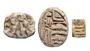 A lot of 3 Egyptian steatite scarabs