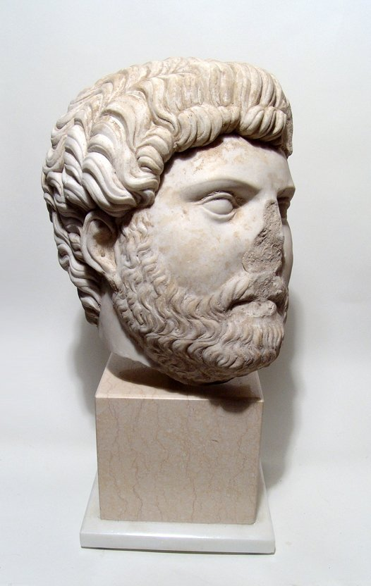 Marvelous Roman marble head of the emperor Hadrian