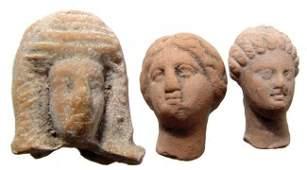 A lot of 3 Greek Hellenistic terracotta female heads