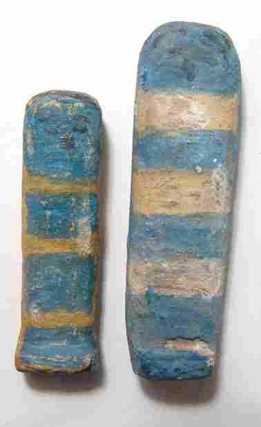 Pair of Egyptian painted wood ushabtis