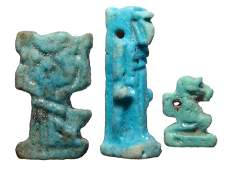 A lot of 3 Egyptian amulets, Late Period