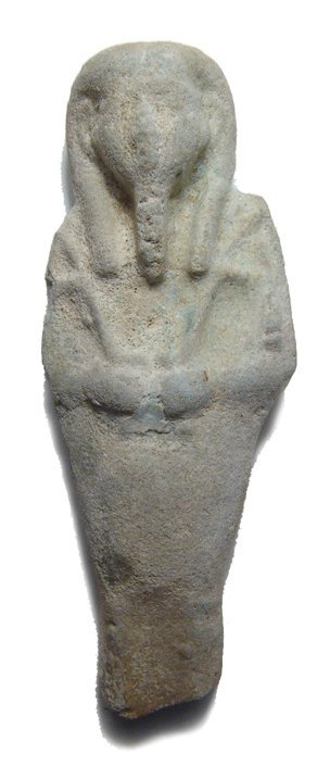 An Egyptian faience ushabti, Late Period