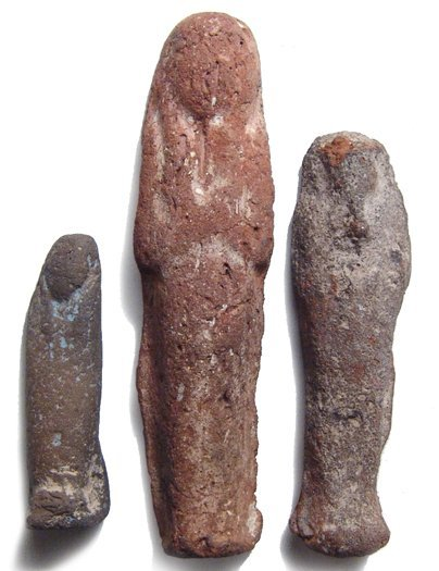 A lot of 3 Egyptian ushabtis, Late Period