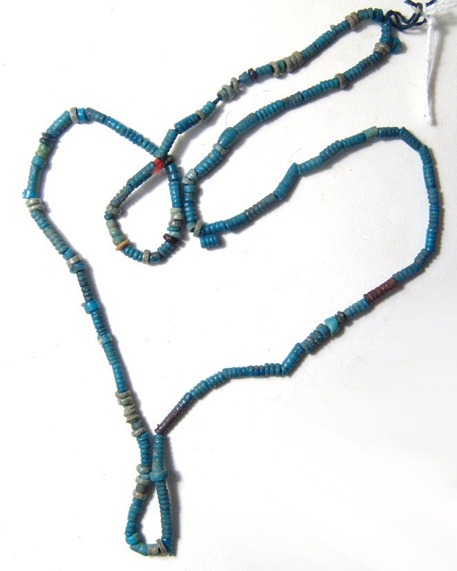 An Egyptian faience beaded necklace
