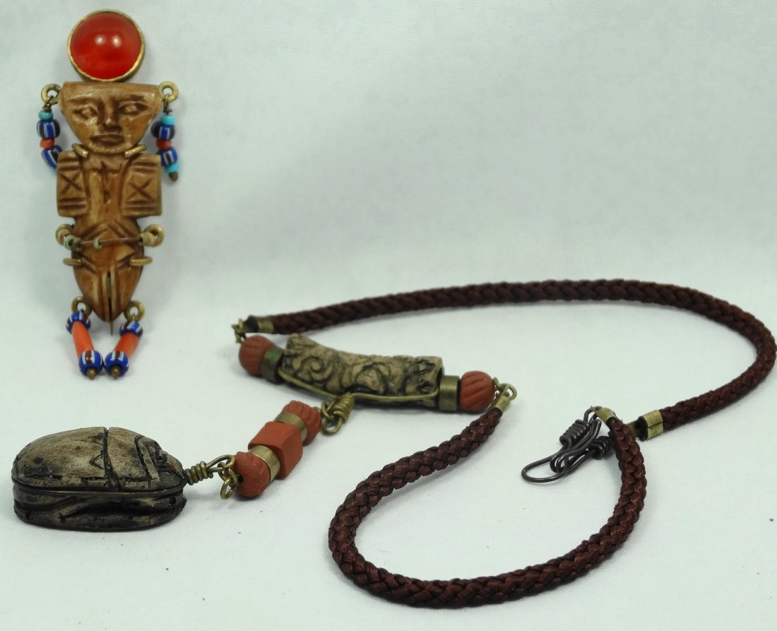 Egyptian Coptic bone doll and Egyptian-style scarab