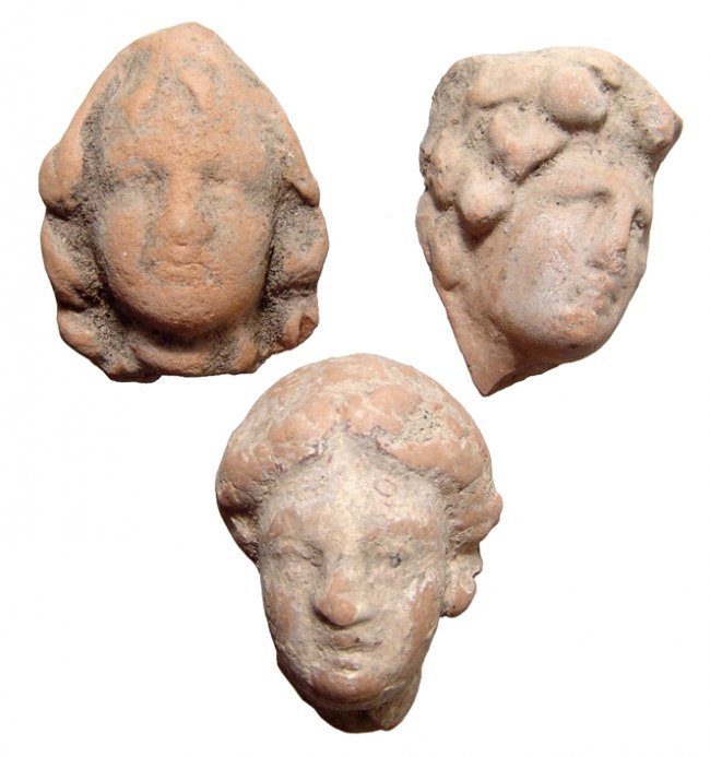 A lot of 3 Hellenistic terracotta heads