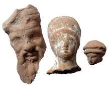 A lot of 3 Greek Hellenistic terracotta heads