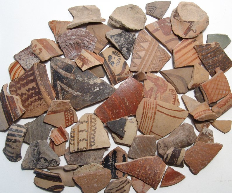 60 mostly Greek and Cypriot decorated pottery fragments
