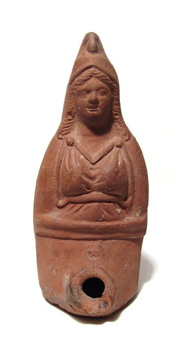 Egyptian Red-Ware plastic lamp with the bust of Isis