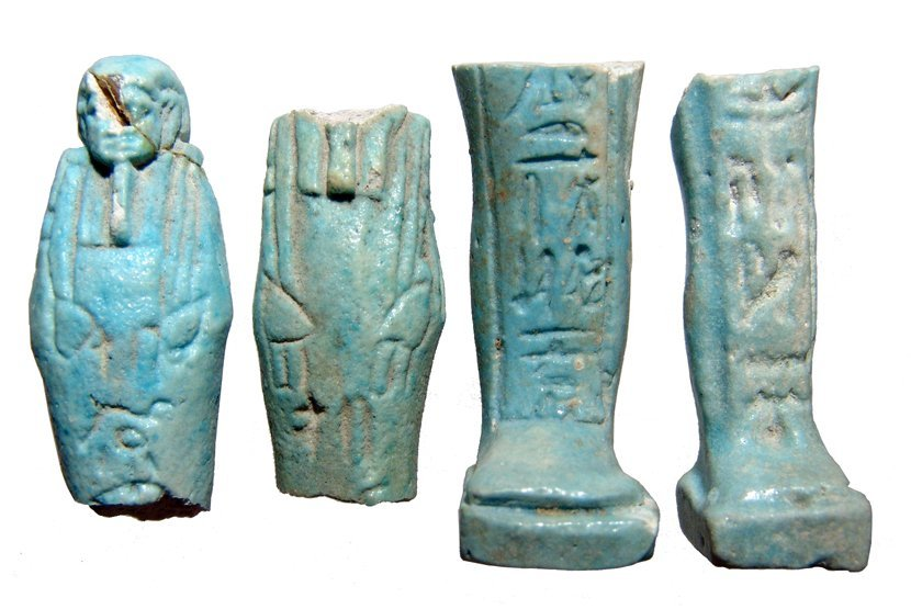A lot of 4 Egyptian fragmentary faience ushabtis