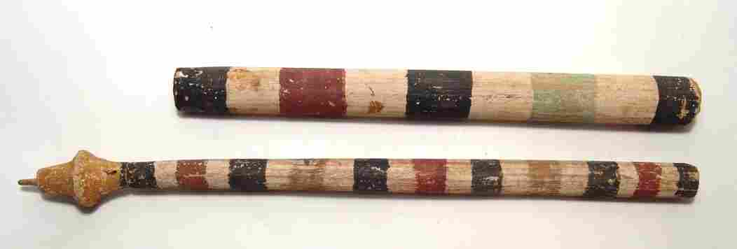 Pair of Egyptian painted wood funerary poles