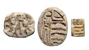 3 Egyptian steatite scarabs