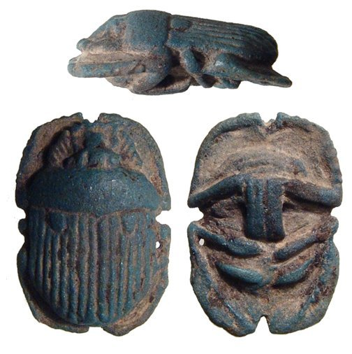 Egyptian blue faience button scarab