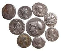 6 ancient Roman silver coins and 3 modern copies