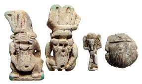 A lot of 4 Egyptian amulets, Late Period