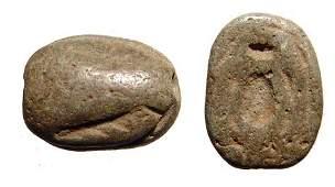 An Egyptian steatite scaraboid, New Kingdom