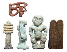 A group of 5 Egyptian faience and stone amulets