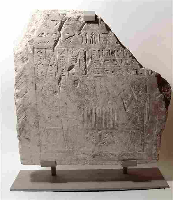 Egyptian limestone relief depicting an offering scene