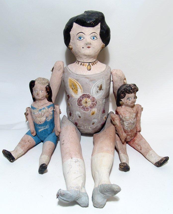 3 vintage Mexican paper-mache dolls