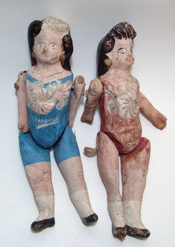 3 vintage Mexican paper-mache dolls - 4