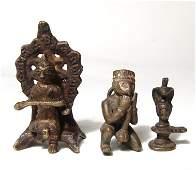 A lot of 3 Hindu bronze figures of deities