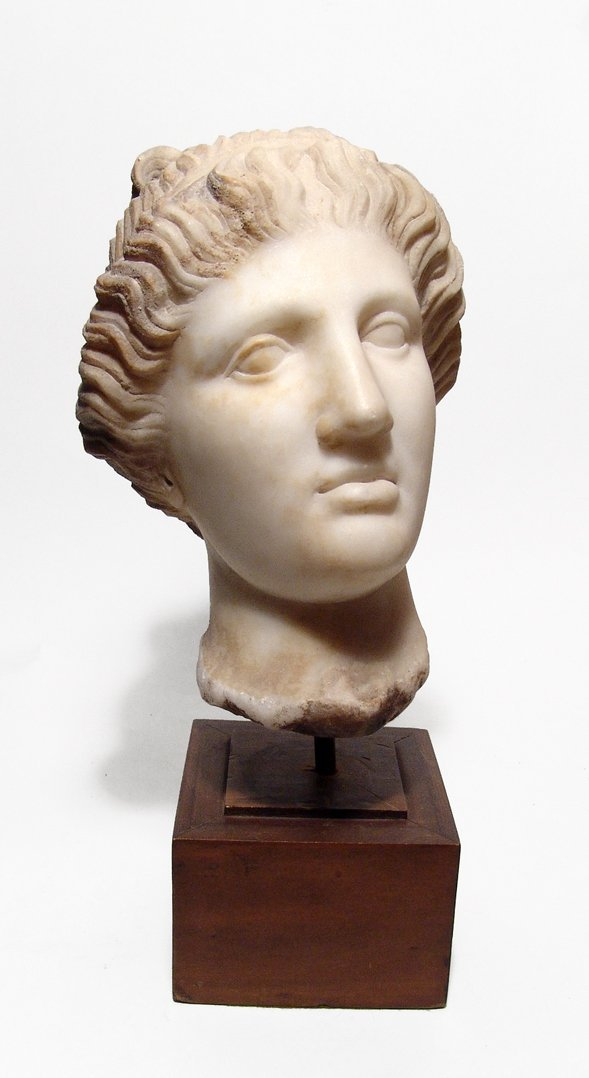 A lovely Roman marble head of a woman,c. 1st - 2nd C AD
