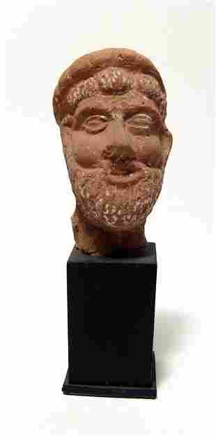 Egyptian terracotta head of a bearded man