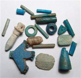 Mixed lot of Egyptian faience beads and amulets