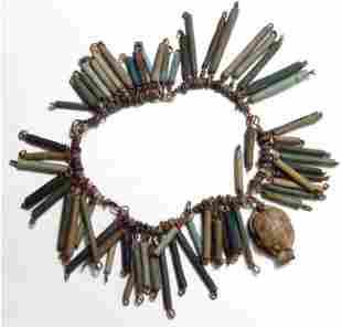 Egyptian faience bead bracelet with scarab