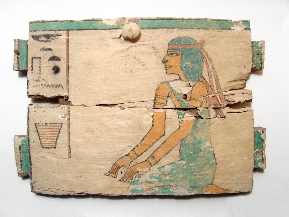 A beautiful Egyptian wood ushabti box panel