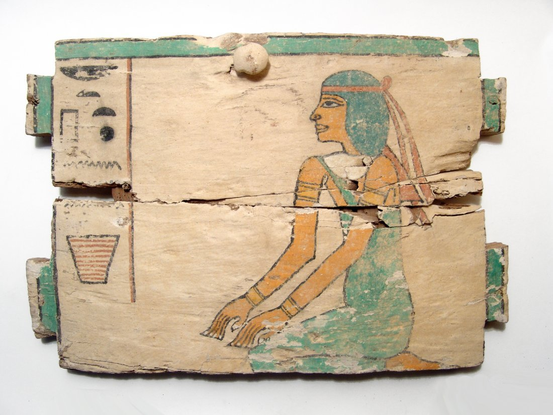 A beautiful Egyptian wood ushabti box panel