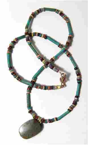 Egyptian necklace with jasper pendant bead