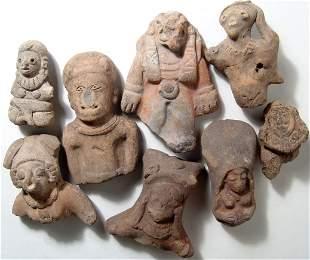 A lot of 8 Ecuadoran ceramic busts and heads