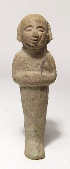 An interesting Egyptian bi-color faience ushabti