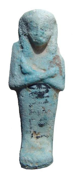Egyptian pale blue bicolor faience ushabti