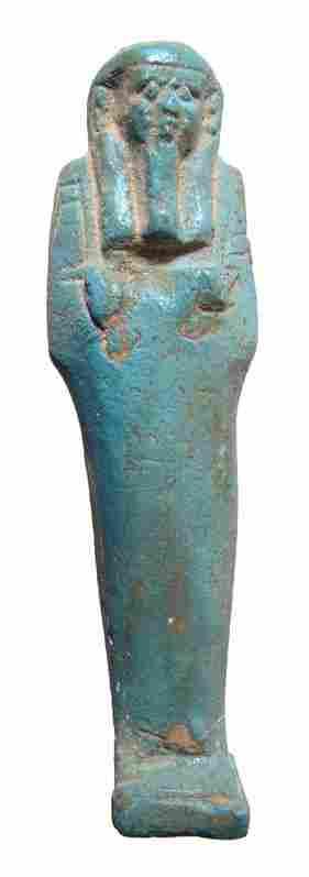 An nice pale blue Egyptian faience ushabti