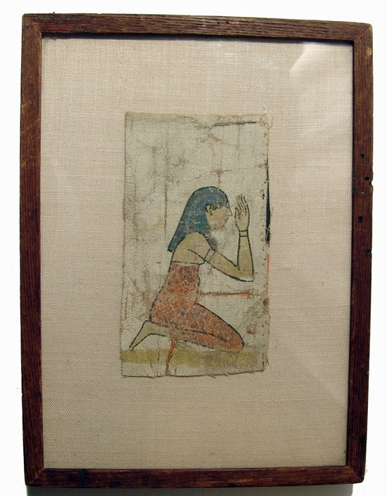 A beautiful painted linen panel depicting a mourner