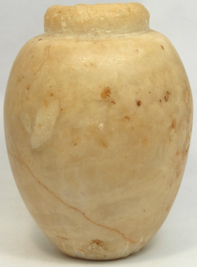 A very attractive Egyptian alabaster cosmetic kohl jar