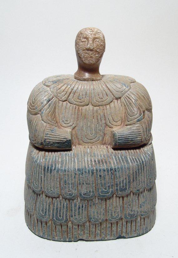 Bactrian calcite votive head from a composite figure