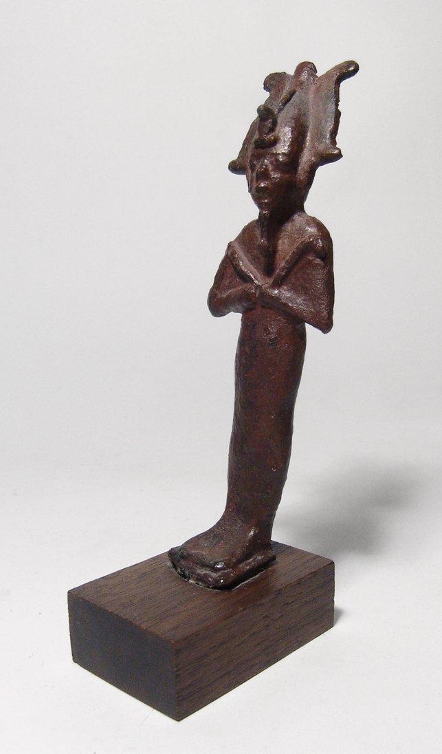 Egyptian bronze figure of standing Osiris