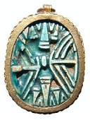 Large Egyptian scarab set into a gold pendant