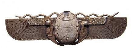 Egyptian steatite scarab in antique gold winged setting