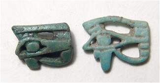 A pair faience Eye of Horus amulets