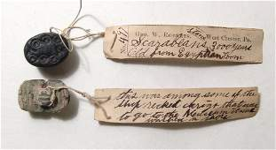 Pair of Egyptian scarabs with antique labels