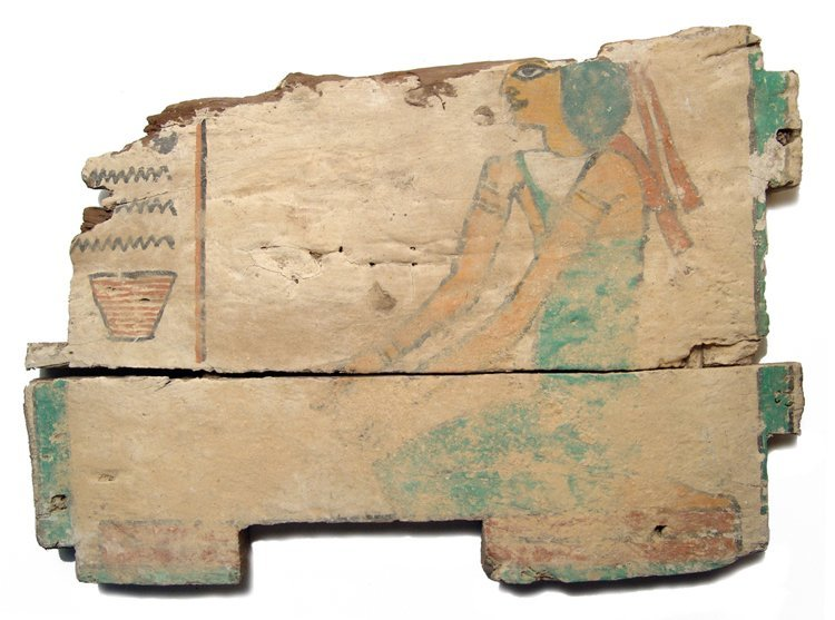 Egyptian wood ushabti box panel, Late Period