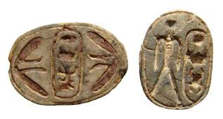 Pair Egyptian scarabs with cartouche of Thutmose III