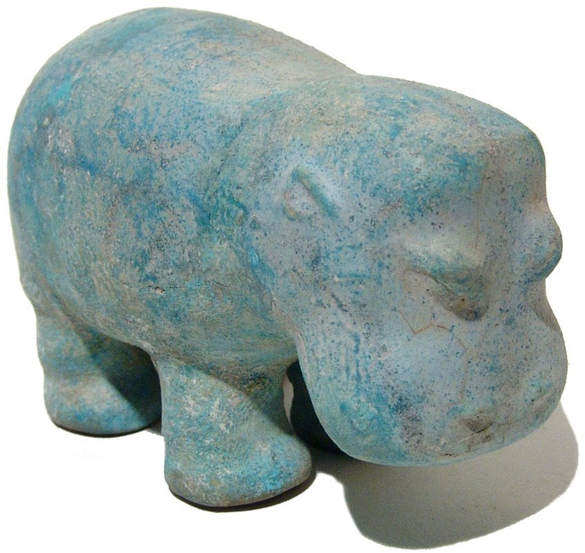 An extremely rare Egyptian faience Hippopotamus