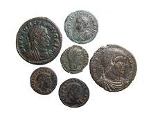 A lot of 6 Roman bronze coins Constantinian period